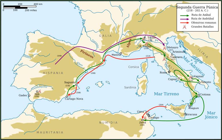 mapa segunda guerra púnica