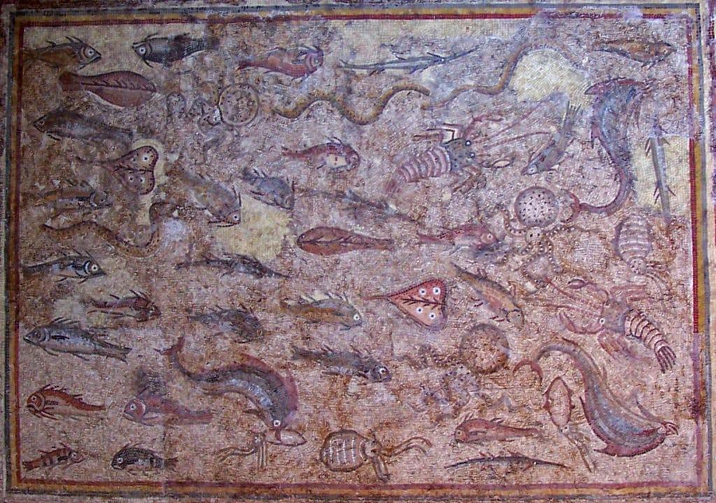 mosaico romano peces